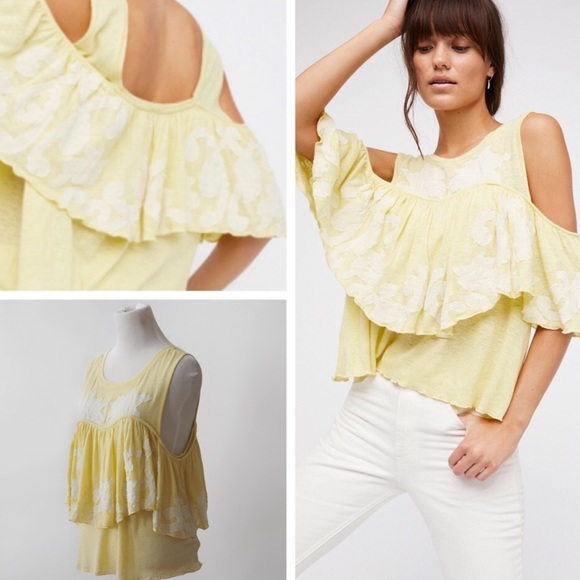 02571a47012314 Free People Georgina Yellow Cold Shoulder Top